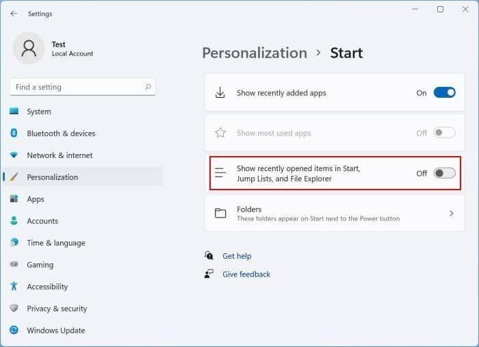 remove or disable recent files from Start menu in Windows 11 pic3
