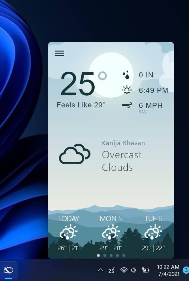 show weather info on Windows 11 taskbar pic2