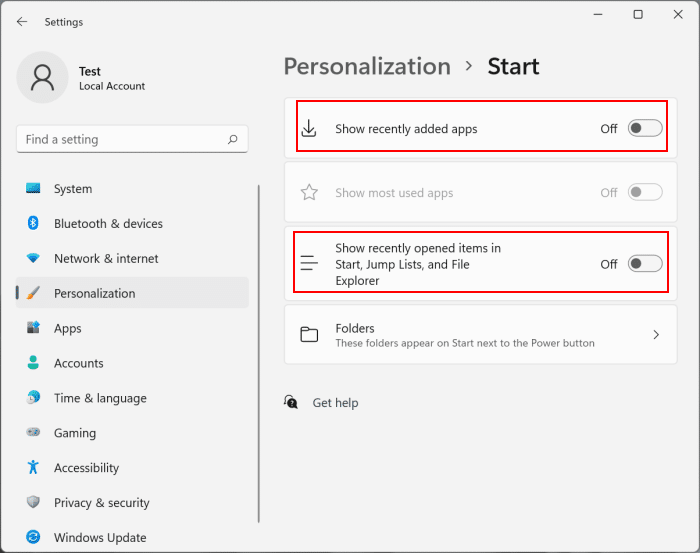 remove recommended section from start menu in Windows 11 pic2