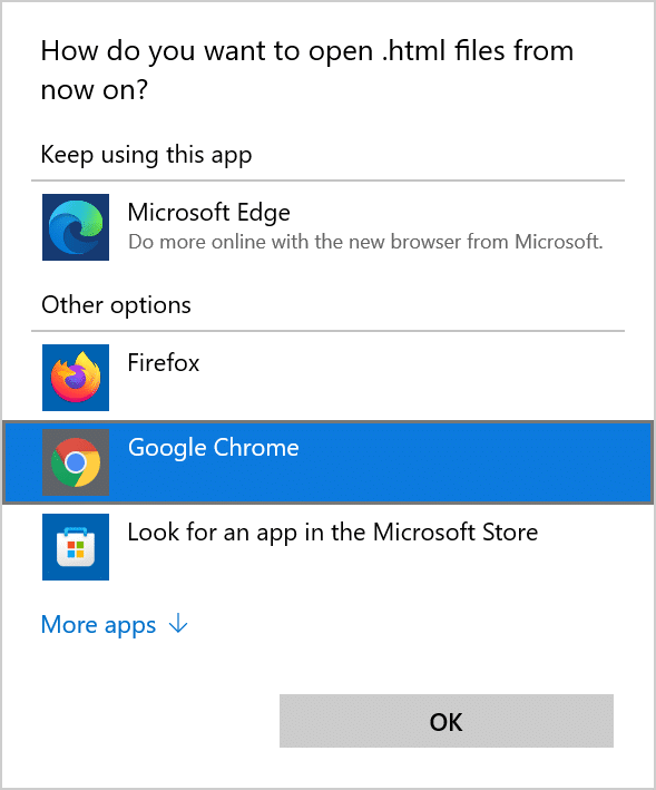 set Chrome as deafult in Windows 11 pic7