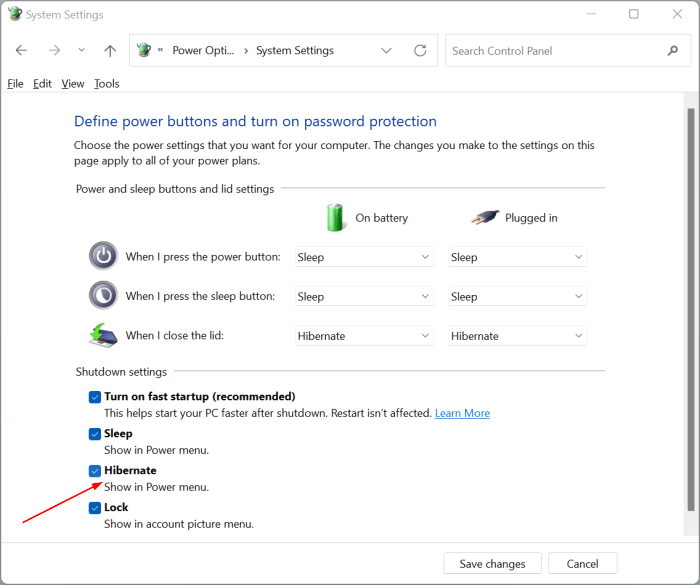 enable hibernate in Windows 11 start menu pic5