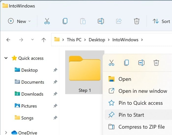pin a folder to start menu in Windows 11 pic1