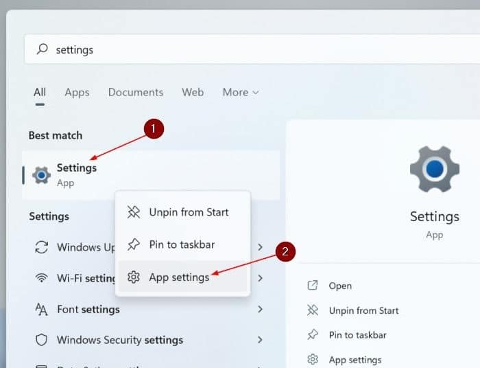 reset the Settings app in Windows 11 pic2