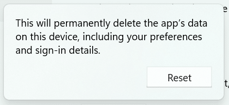 reset the Settings app in Windows 11 pic7
